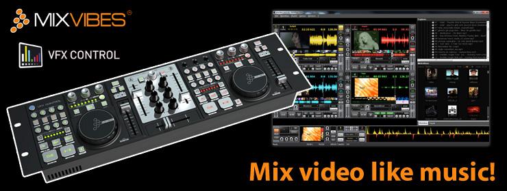 VFX CONTROLはビデオとミュージックの両方をミックス可能なパワフルなソフト ウェアと、3ステレオ出力サウンドカード内蔵のMIDIコントローラーをセットに したパッケージです。